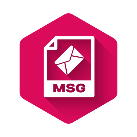 White MSG file document icon. Download msg button icon isolated with long shadow. MSG file symbol. Pink hexagon button. Vector Illustration