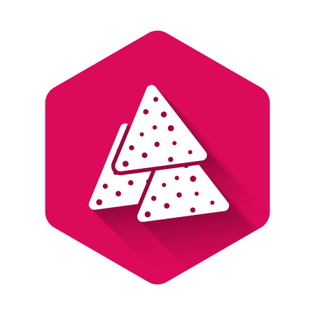 White Nachos icon isolated with long shadow. Tortilla chips or nachos tortillas. Traditional mexican fast food. Pink hexagon button. Vector Illustration