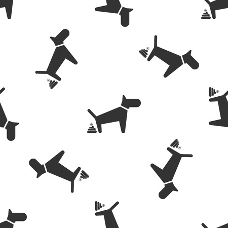 Grey Dog pooping icon isolated seamless pattern on white background. Dog goes to the toilet. Dog defecates. The concept of place for walking pets. Vector Illustration