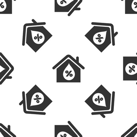 Grey House humidity icon isolated seamless pattern on white background. Weather and meteorology, thermometer symbol. Vector Illustration