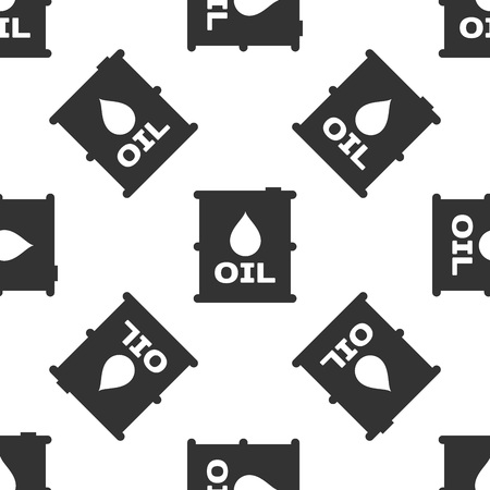 Grey Oil barrel icon isolated seamless pattern on white background. Oil drum container. For infographics, fuel, industry, power, ecology. Vector Illustration