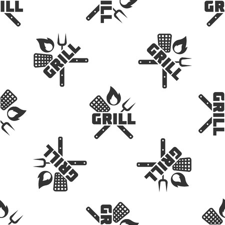 Grey Crossed fork and spatula icon isolated seamless pattern on white background. Fire flame sign. BBQ fork and spatula sign. Barbecue and grill tools. Vector Illustration