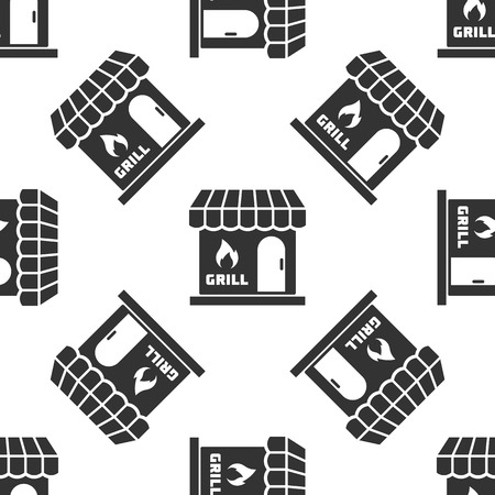 Grey Barbecue shopping building or market store icon isolated seamless pattern on white background. BBQ grill party. Shop construction. Vector Illustration