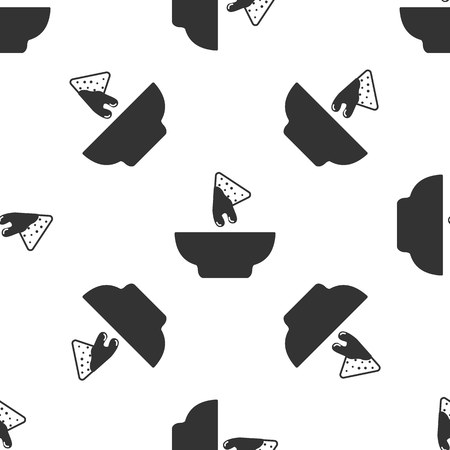 Grey Nachos in plate icon isolated seamless pattern on white background. Tortilla chips or nachos tortillas. Traditional mexican fast food. Vector Illustration 向量圖像