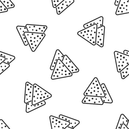 Grey Nachos icon isolated seamless pattern on white background. Tortilla chips or nachos tortillas. Traditional mexican fast food. Vector Illustration 向量圖像