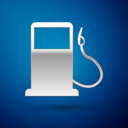 Silver Petrol or Gas station icon isolated on blue background. Car fuel symbol. Gasoline pump. Vector Illustration Illustration