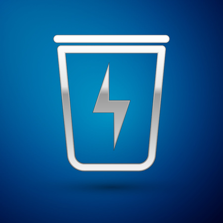 Silver Lightning with trash can icon isolated on blue background. Waste to energy. Garbage bin sign. Recycle basket sign. Vector Illustration