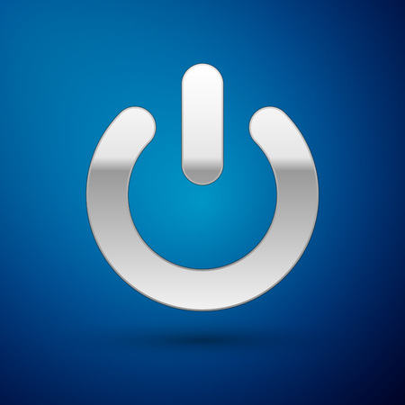 Silver Power button icon isolated on blue background. Start sign. Flat design. Vector Illustration Illustration