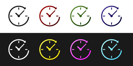 Set Clock with arrow icon isolated on black and white background. Time symbol. Clockwise rotation icon arrow and time. Vector Illustration