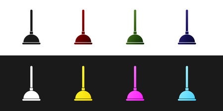 Set Rubber plunger with wooden handle for pipe cleaning icon isolated on black and white background. Toilet plunger. Vector Illustration Çizim