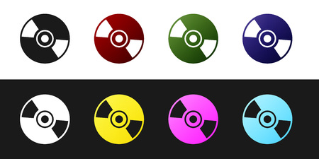 Set CD or DVD disk icon isolated on black and white background. Compact disc sign. Vector Illustration Illustration