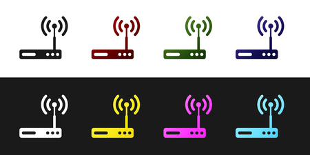 Set Router and wi-fi signal symbol icon isolated on black and white background. Wireless ethernet modem router. Computer technology internet. Vector Illustration Ilustracja