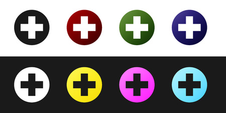 Set Medical cross in circle icon isolated on black and white background. First aid medical symbol. Vector Illustration