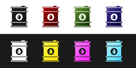 Set Barrel oil icon isolated on black and white background. Vector Illustration 版權商用圖片 - 123659650