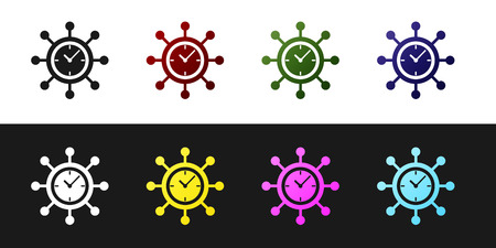 Set Clock and gear icon isolated on black and white background. Time Management symbol. Business concept. Hub and spokes and clock solid icon. Vector Illustration
