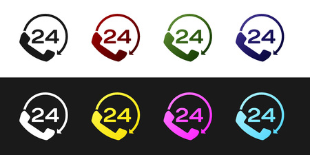 Set Telephone 24 hours support icon isolated on black and white background. All-day customer support call-center. Full time call services. Vector Illustration