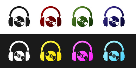 Set Headphones and CD or DVD icon isolated on black and white background. Earphone sign. Compact disk symbol. Vector Illustration