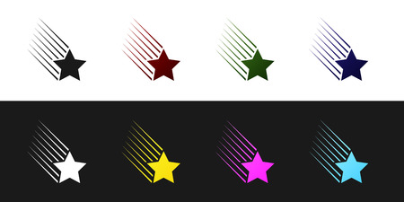 Set Falling star icon isolated on black and white background. Shooting star with star trail. Meteoroid, meteorite, comet, asteroid, star icon. Vector Illustration