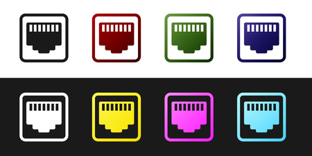 Set Network port - cable socket icon isolated on black and white background. LAN, ethernet port sign. Local area connector icon. Vector Illustration