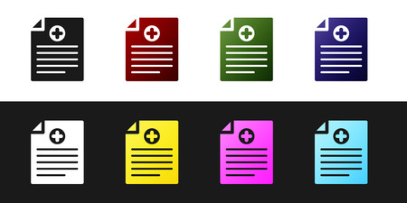 Set Medical clipboard with clinical record icon isolated on black and white background. Health insurance form. Prescription, medical check marks report. Vector Illustration