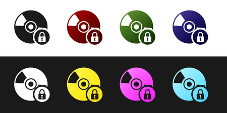 Set CD or DVD disk with closed padlock icon isolated on black and white background. Compact disc sign. Security, safety, protection concept. Vector Illustration Illustration