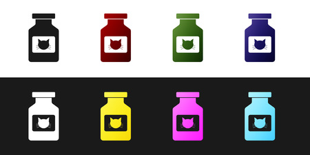 Set Cat medicine bottle icon isolated on black and white background. Container with pills. Prescription medicine for animal. Vector Illustration Illustration