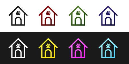 Set Dog house and paw print pet icon isolated on black and white background. Dog kennel. Vector Illustration Illustration