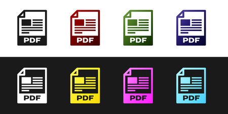 Set PDF file document icon. Download pdf button icon isolated on black and white background. PDF file symbol. Vector Illustration