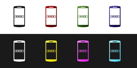 Set Mobile phone and password protection icon isolated on black and white background. Security, safety, personal access, user authorization, privacy. Vector Illustration Illustration