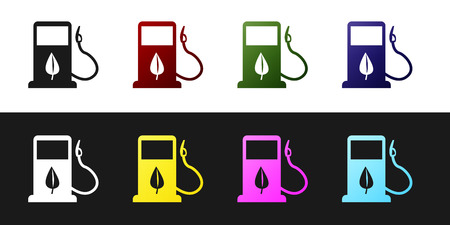 Set Bio fuel concept with fueling nozzle and leaf icon isolated on black and white background. Gas station with leaves. Eco refueling. Vector Illustration Ilustracja