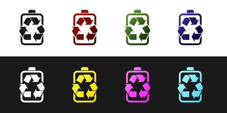 Set Battery with recycle symbol line icon isolated on black and