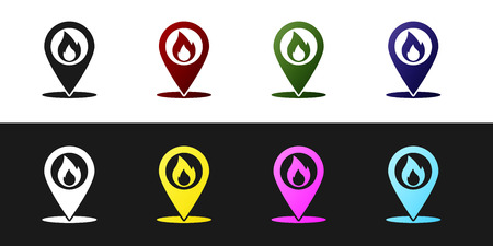 Set Map pointer with fire flame icon isolated on black and white background. Fire nearby. Vector Illustration