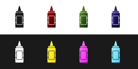 Set Mustard bottle icon isolated on black and white background. Vector Illustration