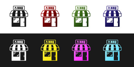Set Barbecue shopping building or market store icon isolated on black and white background. BBQ grill party. Shop construction. Vector Illustration