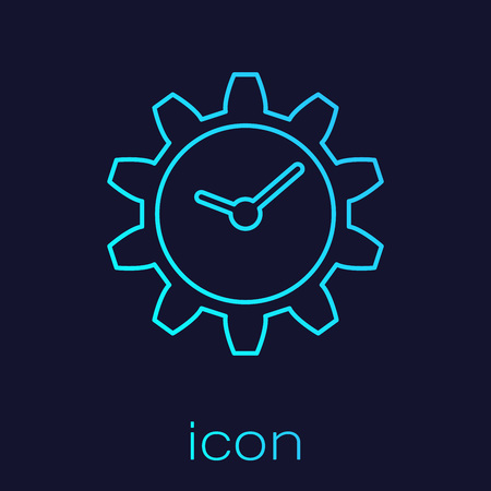 Turquoise Time Management line icon isolated on blue background. Clock and gear sign. Vector Illustration