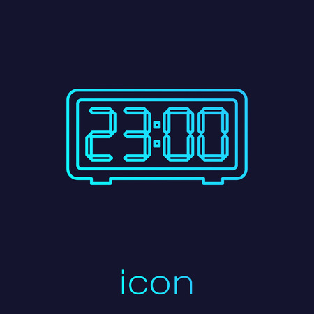 Turquoise Digital alarm clock line icon isolated on blue background. Electronic watch alarm clock. Time icon. Vector Illustration