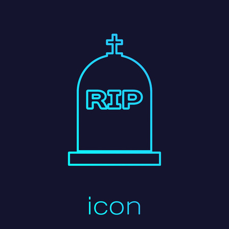 Turquoise Tombstone with RIP written on it line icon isolated on blue background. Grave icon. Vector Illustration