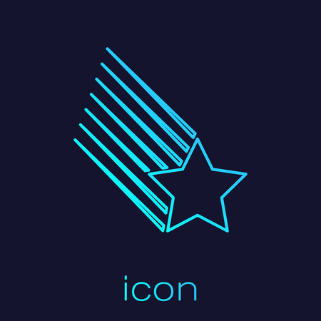Turquoise Falling star line icon isolated on blue background. Shooting star with star trail. Meteoroid, meteorite, comet, asteroid, star icon. Vector Illustration