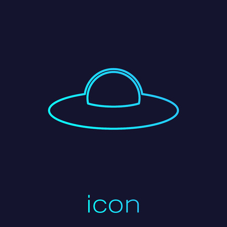 Turquoise UFO flying spaceship line icon isolated on blue background. Flying saucer. Alien space ship. Futuristic unknown flying object. Vector Illustration
