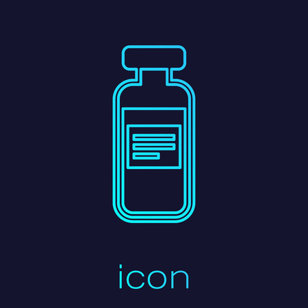 Turquoise Medical vial, ampoule, bottle line icon isolated on blue background. Vaccination, injection, vaccine healthcare concept. Vector Illustration 矢量图像
