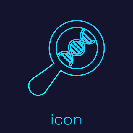 Turquoise DNA research, search line icon isolated on blue background. Magnifying glass and dna chain. Genetic engineering, cloning, paternity testing. Vector Illustration