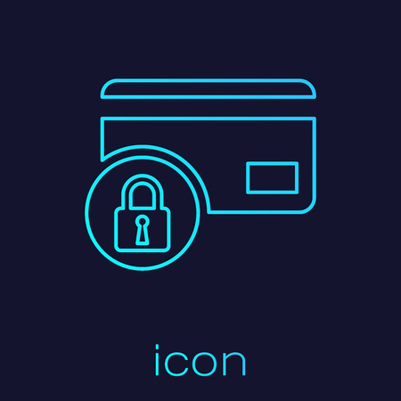 Turquoise Credit card with lock line icon isolated on blue background. Locked bank card. Security, safety, protection concept. Concept of a safe payment. Vector Illustration