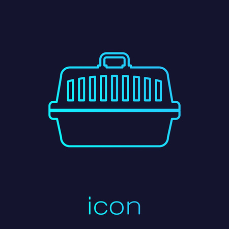 Turquoise Pet carry case line icon isolated on blue background. Carrier for animals, dog and cat. Container for animals. Animal transport box. Vector Illustration