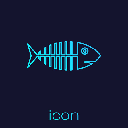 Turquoise Fish skeleton line icon isolated on blue background. Fish bone sign. Vector Illustration Vektorové ilustrace