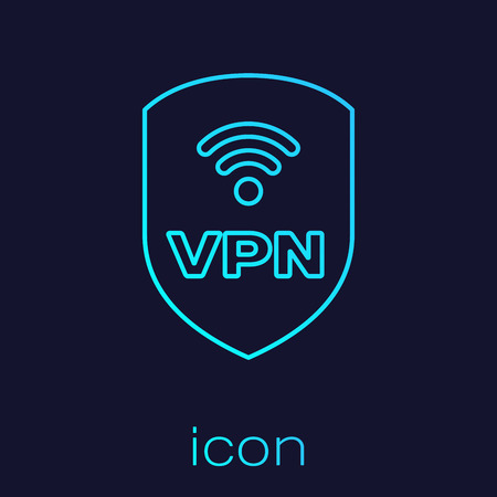 Turquoise Shield with VPN and wifi wireless internet network symbol line icon isolated on blue background. VPN protect safety concept. Vector Illustration