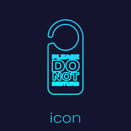 Turquoise Please do not disturb line icon isolated on blue background. Hotel Door Hanger Tags. Vector Illustration
