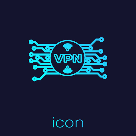 Turquoise VPN in circle with microchip circuit line icon isolated on blue background. Vector Illustration Illustration