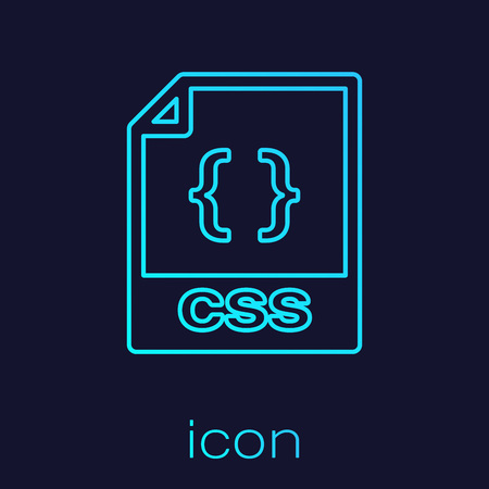 Turquoise CSS file document icon  Download css button line icon