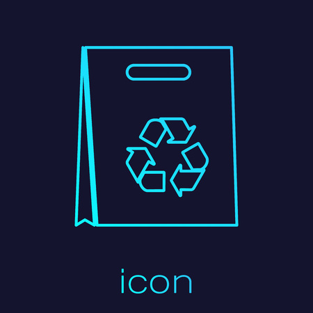Turquoise Paper shopping bag with recycle line icon isolated on blue background. Bag with recycling symbol. Vector Illustration