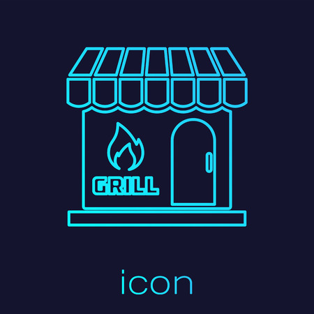 Turquoise Barbecue shopping building or market store line icon isolated on blue background. BBQ grill party. Shop construction. Vector Illustration
